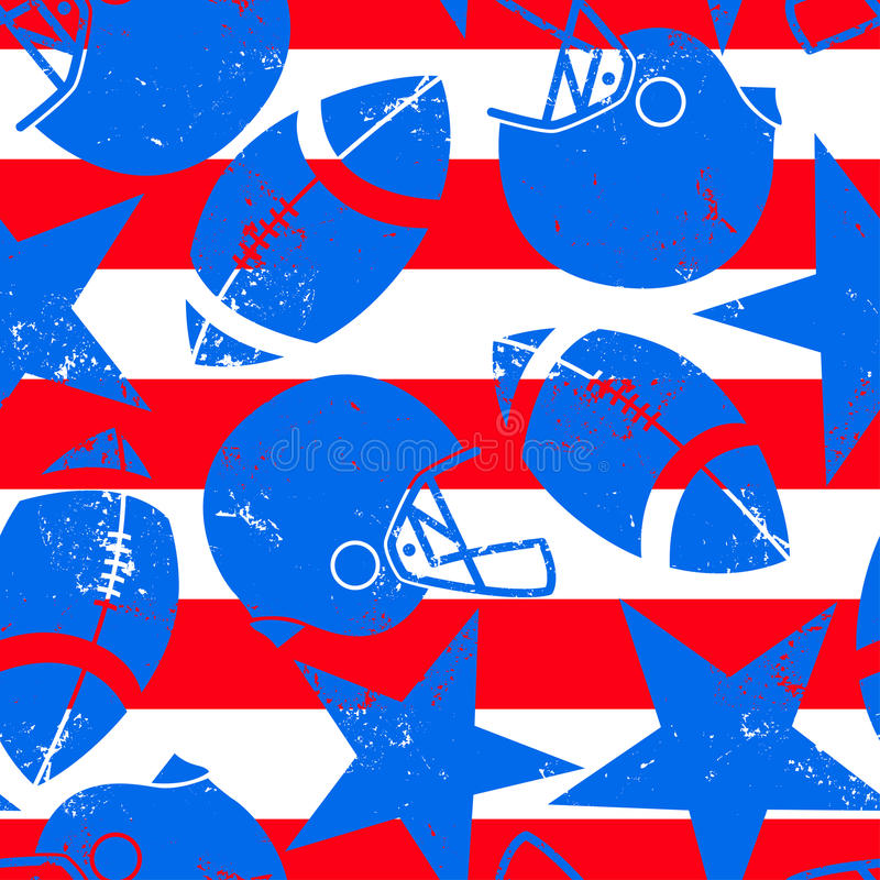 Stars and Stripes distressed football seamless pattern.  vector illustration