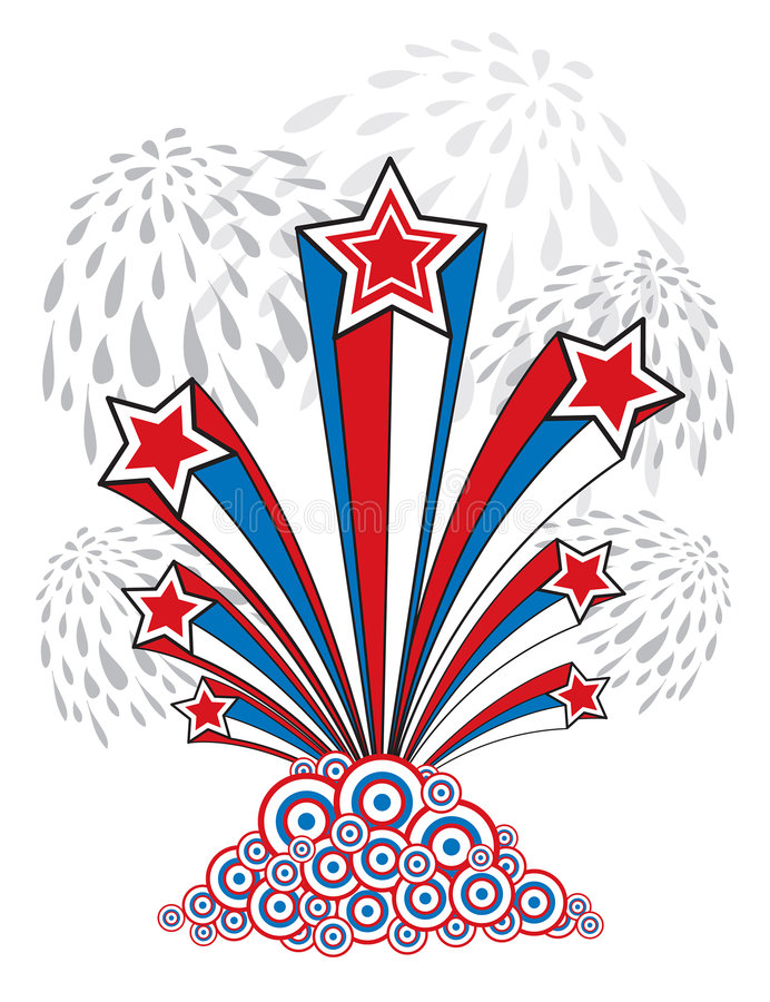 Stars, stripes and fireworks stock illustration