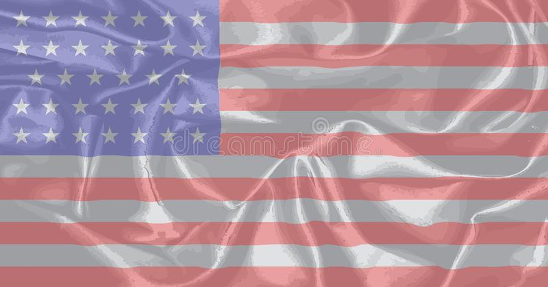 Civil War Union Silk Flag. The Stars and Stripes flag as used by the Union forces during the Amrican civil war royalty free illustration