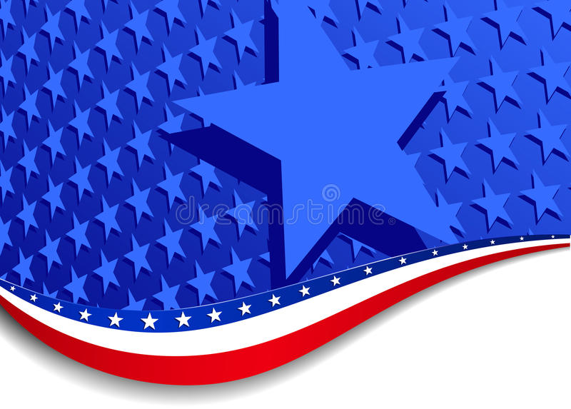Stars and Stripes Landscape with large star vector illustration