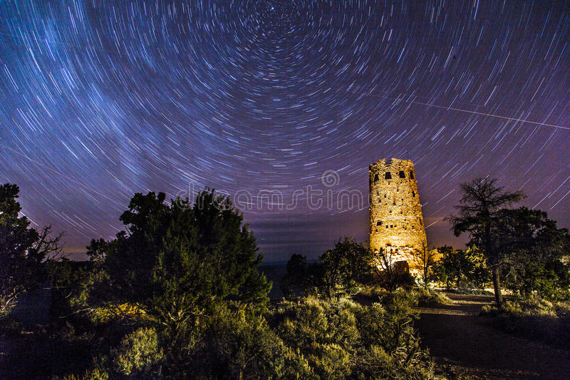 Stars trace in the Watch tower, Grand Canyon national park. In Arizona royalty free stock photos
