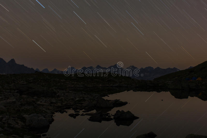 Stars tracks on a nigth sky stock photos