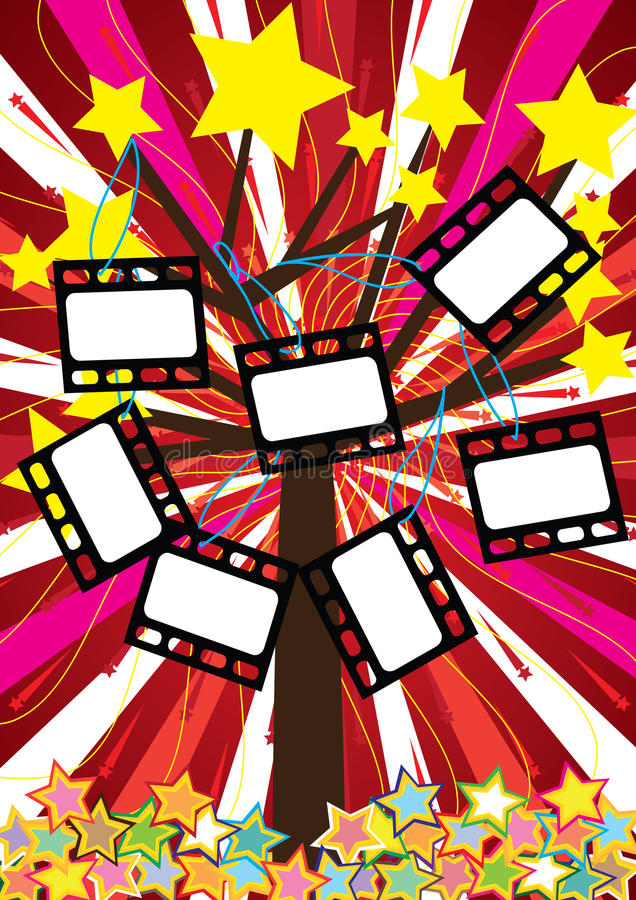 Stars Tree With Film Negative_eps stock illustration