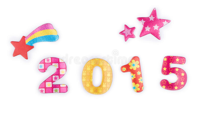 2015 Stars. The year 2015 with colorful digits and stars stock image