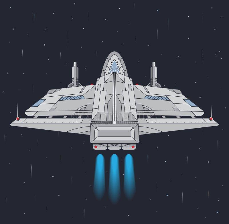 Starship in de ruimte vector illustratie