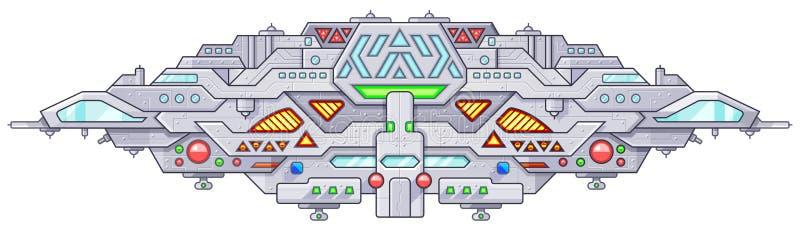 Starship futuristico di battaglia dello spazio cosmico Stranieri dell'oggetto volante non identificato del UFO royalty illustrazione gratis