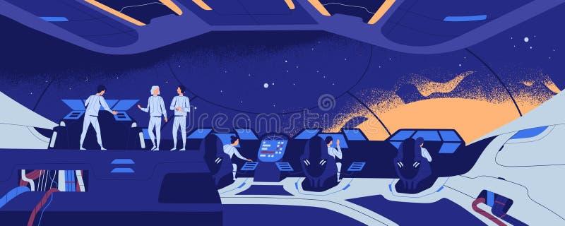 Starship, starcraft, miembros interestelares de la nave espacial o de la nave espacial y del equipo colocándose y sentándose en e libre illustration
