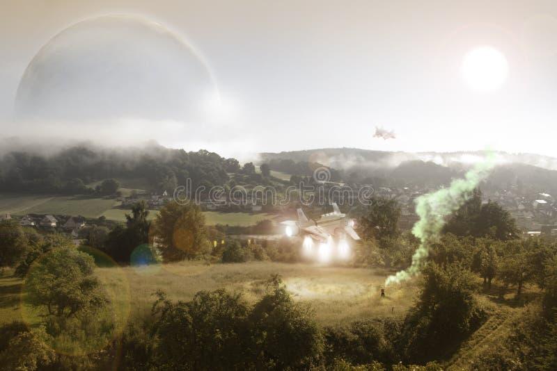 Starship sulla missione di soccorso fotografia stock libera da diritti