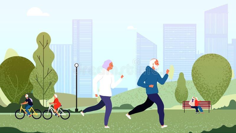 Starsi ludzi parków Senior babci pary szczęśliwi dziadek starsi ludzi chodzi działającego kolarstwa lato plenerowego royalty ilustracja