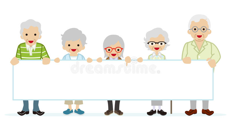 Starsi ludzi trzyma pustego forum dyskusyjnego ilustracja wektor