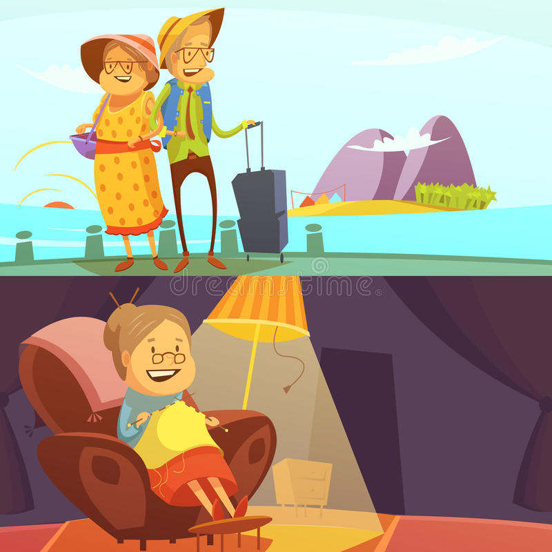 Starsi ludzie sztandarów Ustawiających ilustracja wektor