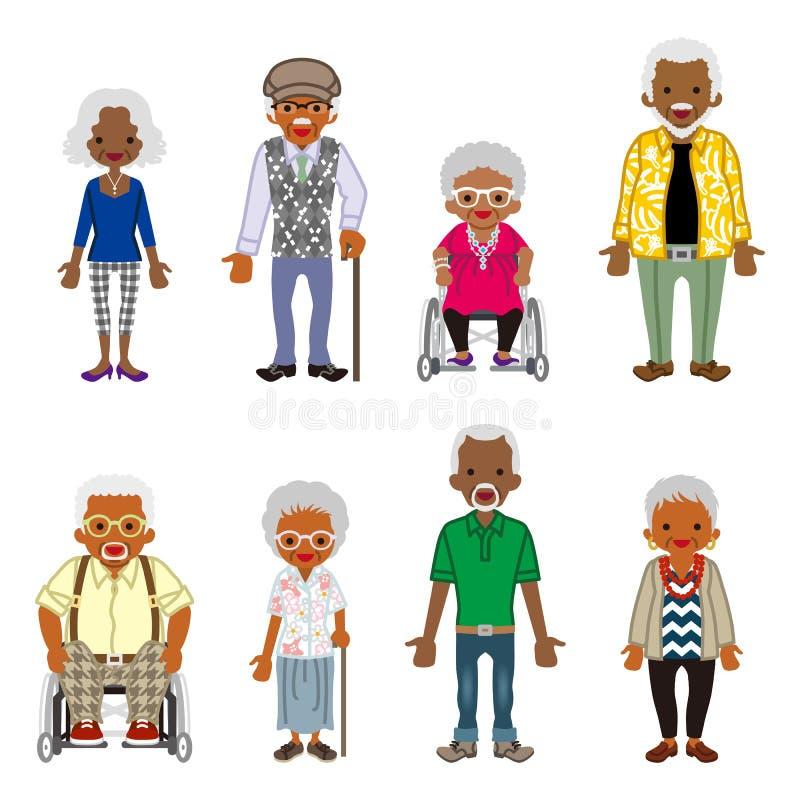 Starsi ludzie ustawiający - afrykanin ilustracja wektor