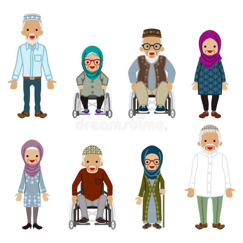 Starsi ludzie ustawiający - muzułmanin ilustracja wektor