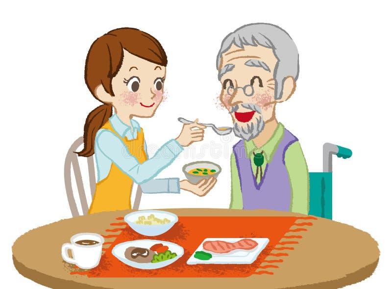 Starsi opieka posiłki ilustracji