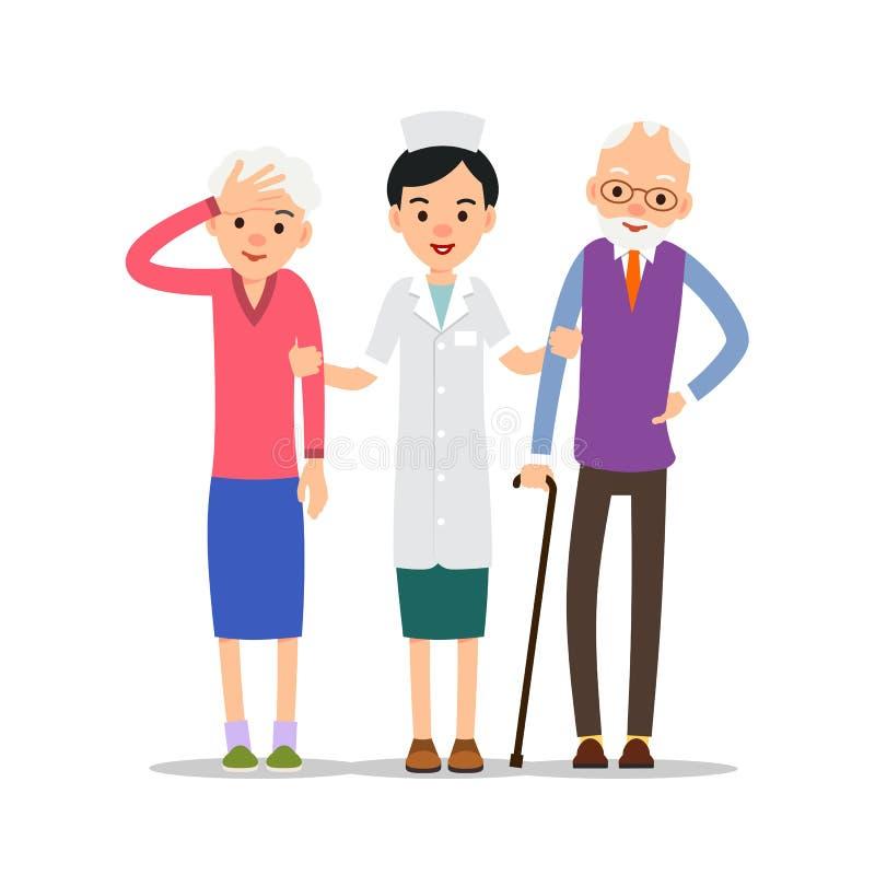 starsi pacjenci Pielęgnuje stojaki i wspiera ręki choroba el ilustracja wektor