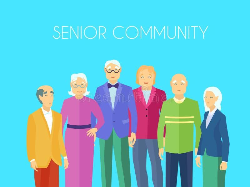Starsi społeczność Grupowego Płaskiego plakata ludzie royalty ilustracja