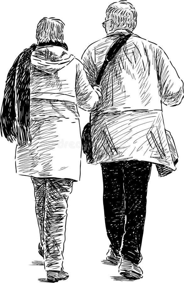 Starsi współmałżonkowie na spacerze ilustracja wektor
