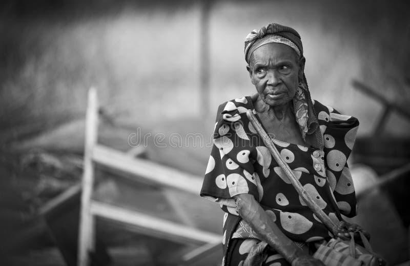 Starsza Afrykańska kobieta w Uganda obraz royalty free