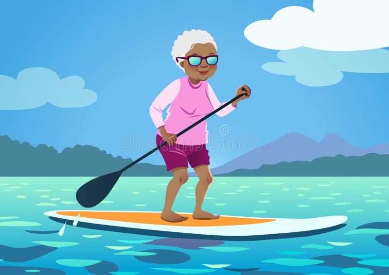 Starsza amerykanin afrykańskiego pochodzenia kobieta na stojaku w górę paddle deski Śliczny g ilustracji