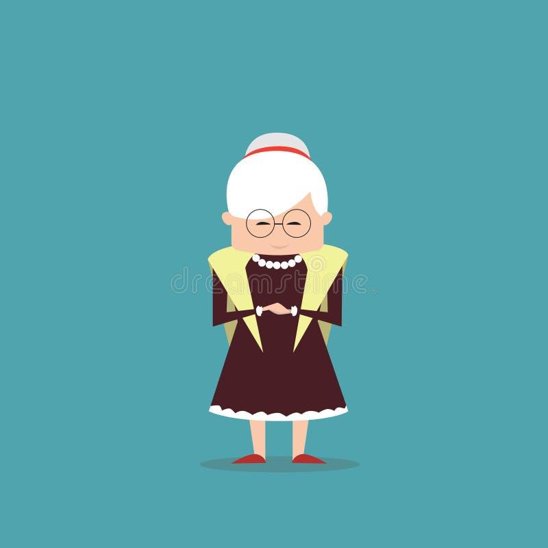 Starsza babcia Folująca kobiety długości dama ilustracja wektor