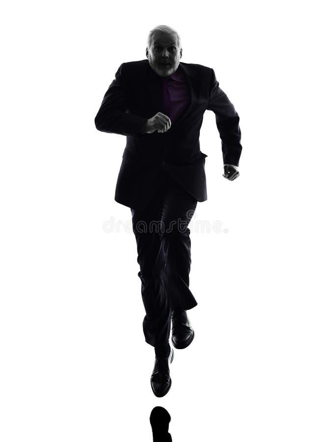 Starsza biznesowego mężczyzna działająca sylwetka zdjęcia royalty free