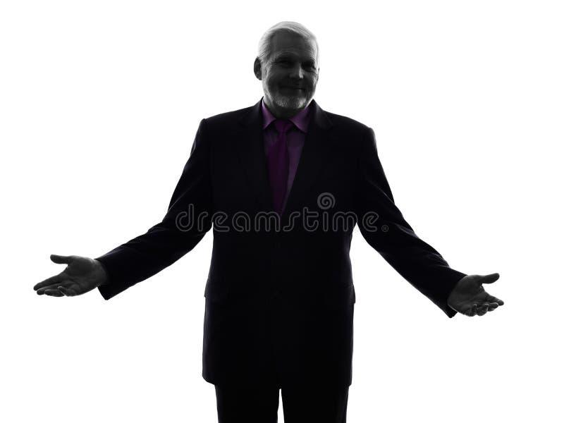 Starsza biznesowego mężczyzna powitalna sylwetka obraz stock