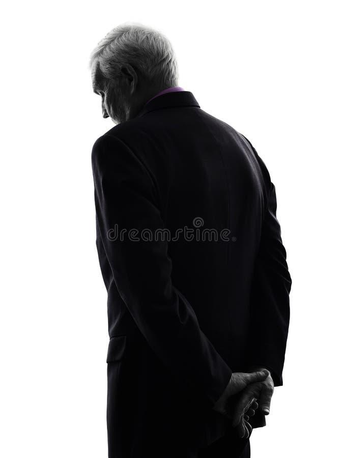 Starsza biznesowego mężczyzna tylni widoku smutna sylwetka obrazy royalty free
