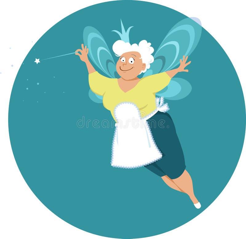 Starsza damy czarodziejka royalty ilustracja
