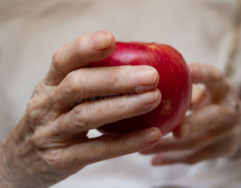 Starsza Kaukaska kobieta Trzyma Dojrzałego Czerwonego Apple obraz royalty free