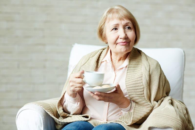 Starsza kobieta cieszy się herbaty fotografia royalty free