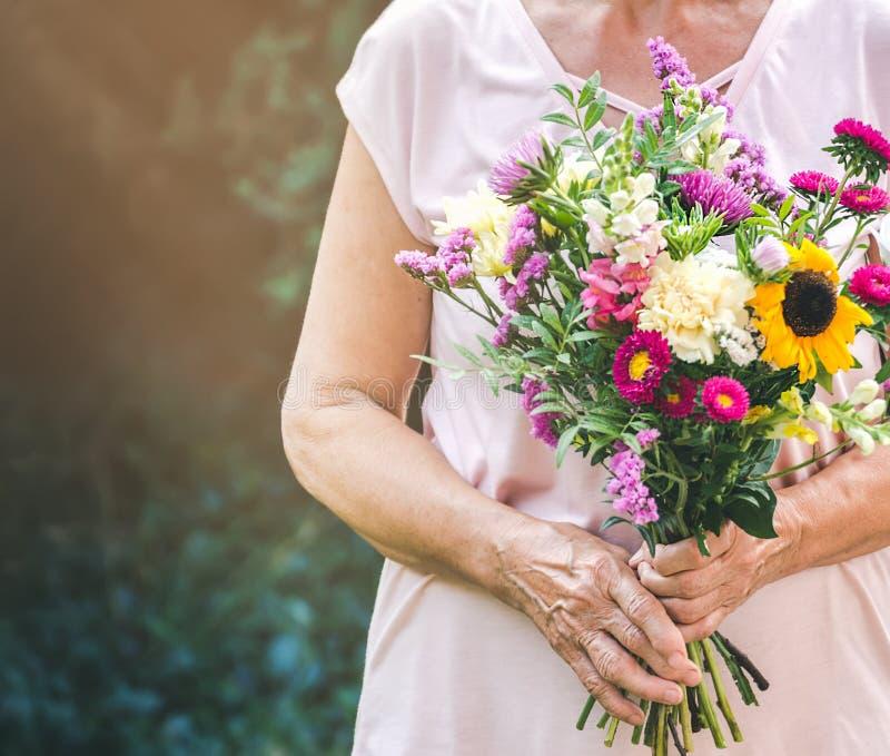 Starsza kobieta dostaje pięknego bukiet śródpolni kwiaty Starsza dama trzyma wiązkę kwiaty fotografia royalty free