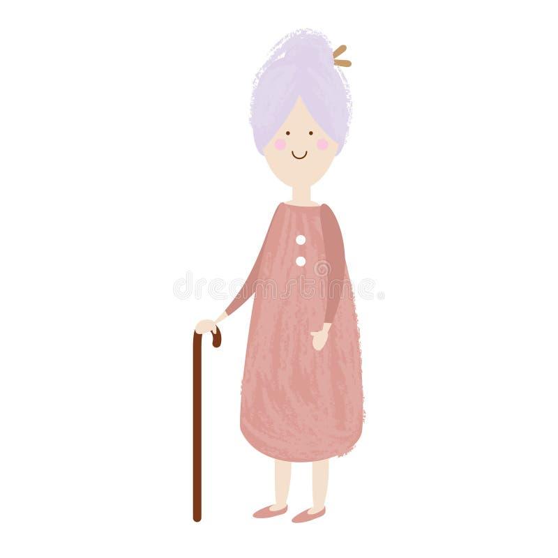 starsza kobieta ogniska oko szczęśliwa kobieta stara Kreskówka seniora kobieta Babcia przechodzić na emeryturę z trzciną ilustracja wektor