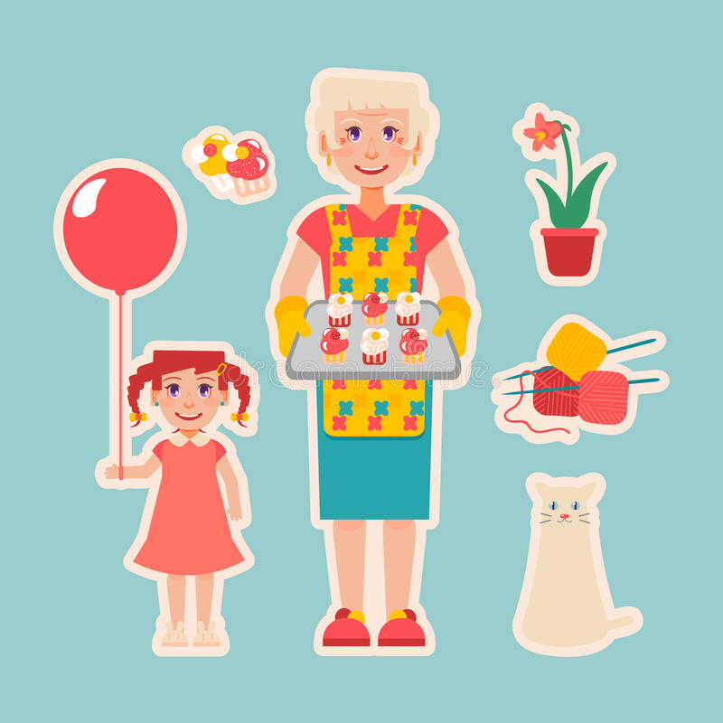 Starsza kobieta przygotowywająca zasycha dla jej wnuczki ilustracji