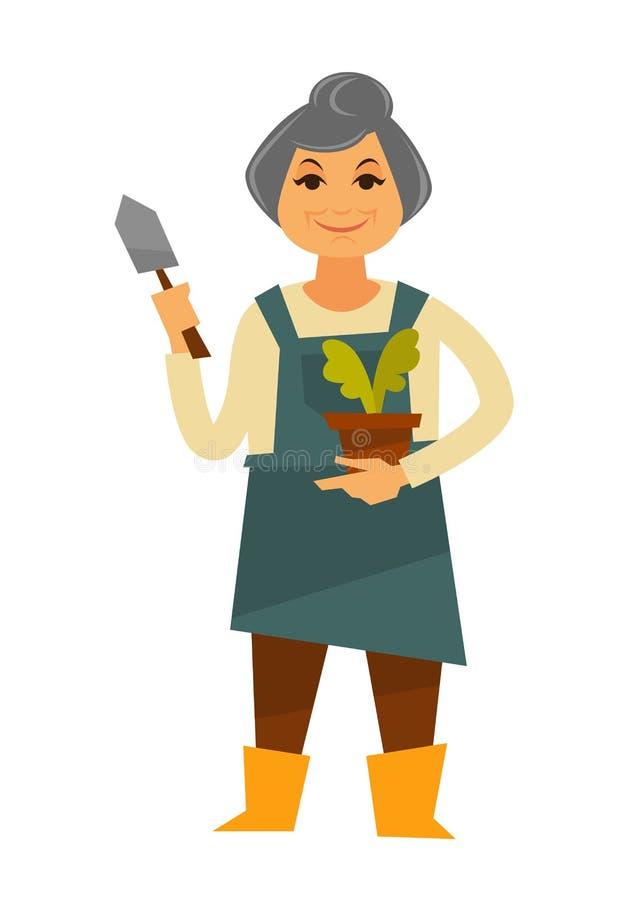 Starsza kobieta w fartuchu z rośliną i kielnią royalty ilustracja