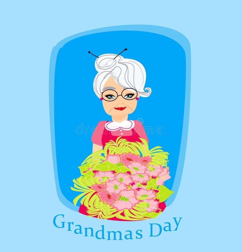 Starsza kobieta z wiązką kwiaty royalty ilustracja