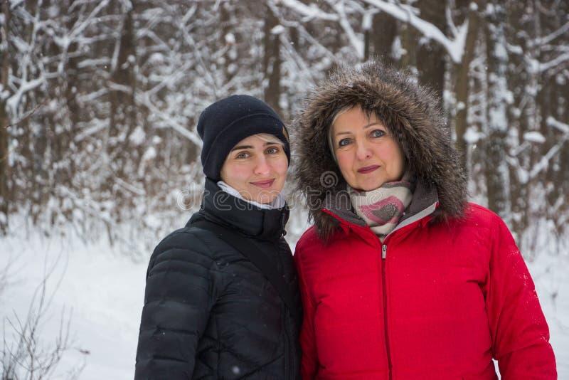 Starsza kobiety matka z córką w zimie w śnieżny drewniany ono uśmiecha się zdjęcia stock