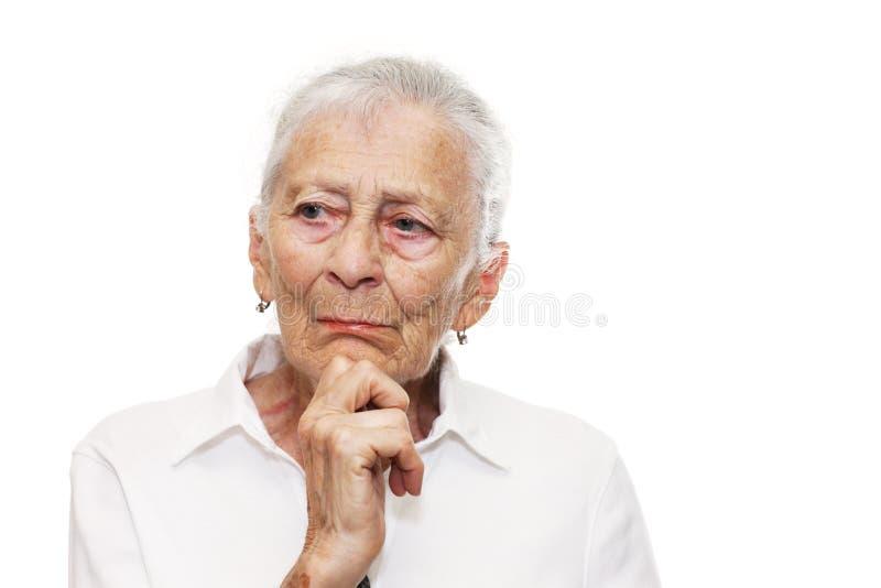 starsza myśląca kobieta obrazy stock