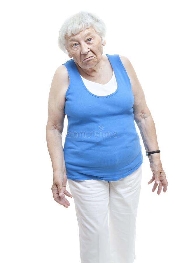starsza nieporuszona kobieta zdjęcia stock