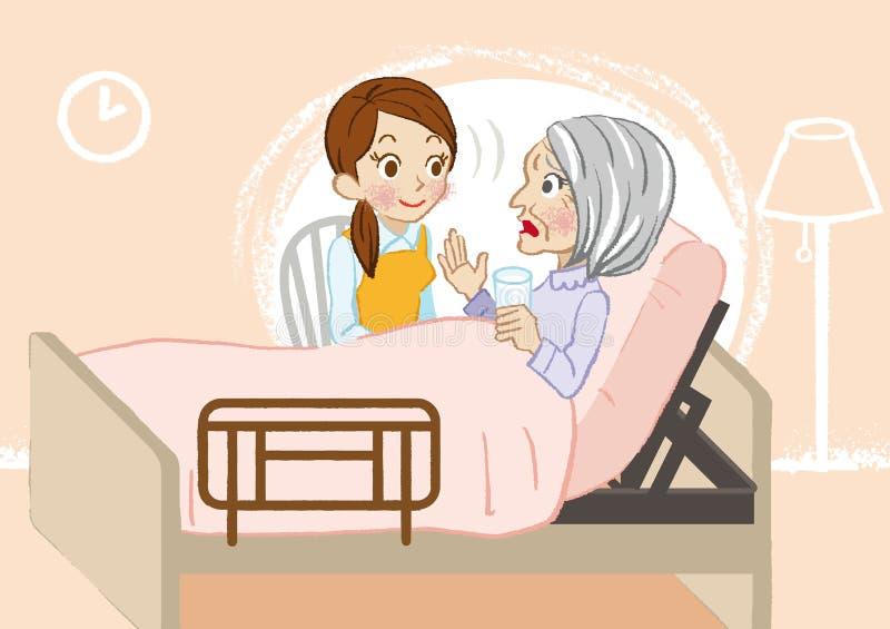 Starsza opieka słucha blisko ilustracji
