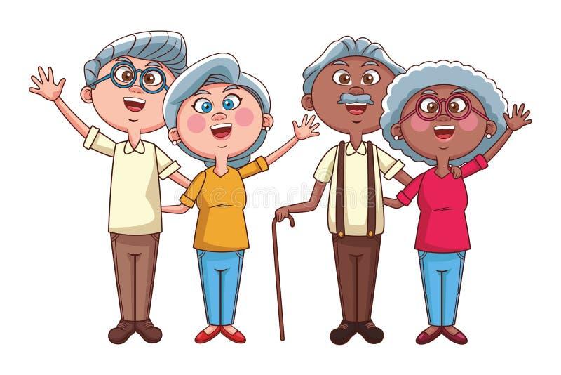 Starsza osoba dobiera się emeryturę ilustracja wektor