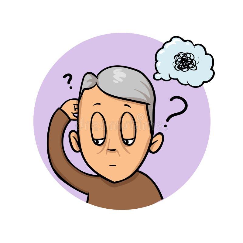 Starsza osoba mężczyzna drapa jego głowę próbuje pamiętać lub czuć wprawiać w zakłopotanie Zamieszanie, pamięci strata Płaska pro royalty ilustracja