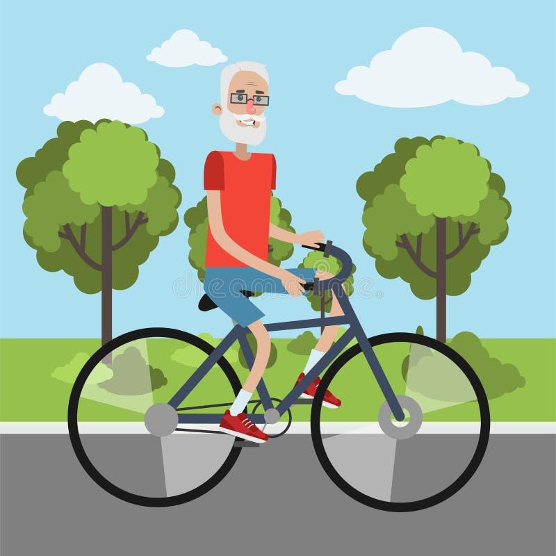Starsza osoba mężczyzna kolarstwo ilustracji