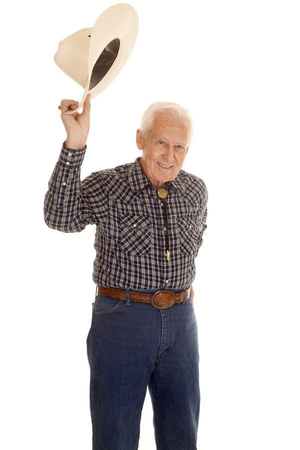Starsza osoba mężczyzna kowbojski kapelusz up fotografia stock
