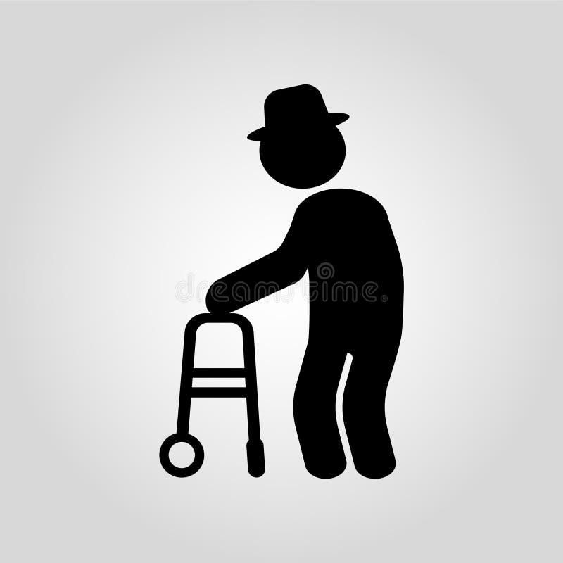 Starsza osoba z kalectwami i fizycznym urazem na szarym tle r?wnie? zwr?ci? corel ilustracji wektora royalty ilustracja