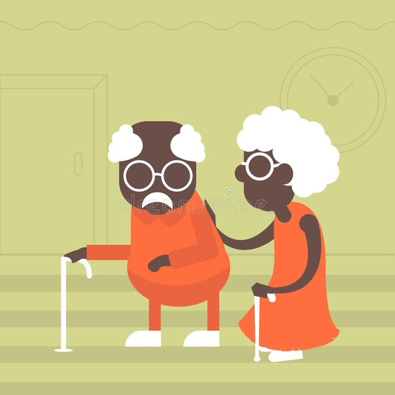 Starsza para afrykanie w mieszkanie stylu ilustracja wektor