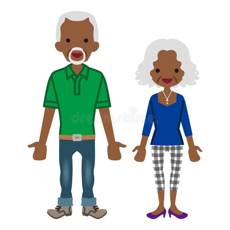 Starsza para - afrykanin ilustracji