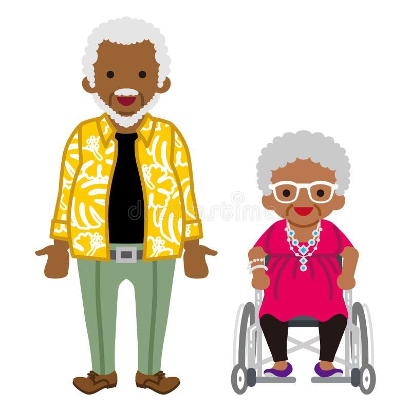 Starsza para - afrykanin, wózek inwalidzki babcia royalty ilustracja