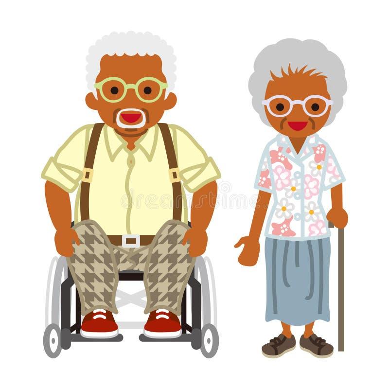 Starsza para - afrykanin, wózków inwalidzkich dziaduniowie będący ubranym Eyeglasses ilustracja wektor