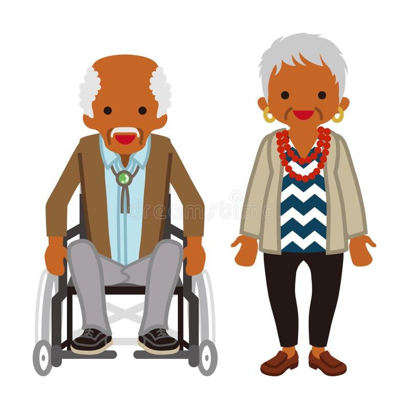 Starsza para - afrykanin, wózka inwalidzkiego dziadunio ilustracji