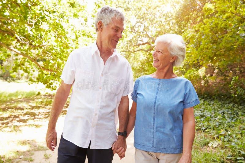 Starsza para chodzi wpólnie w wsi fotografia royalty free